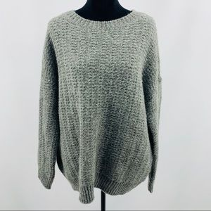 BDG Gray Thick Knit Oversized Long Sleeve Sweater
